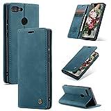 FMPC Handyhülle für Huawei P Smart 2018 Premium Lederhülle PU Flip Magnet Hülle Wallet Klapphülle Silikon Bumper Schutzhülle für Huawei P Smart 2018 Handytasche - Blaugrün