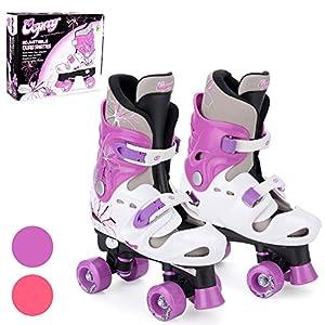 Osprey Patines infantiles de 4 ruedas en paralelo. Patines quad para niños y niñas principiantes. Ajustables, estables, cómodos y fáciles de poner. Quatro colores. Varias tallas.