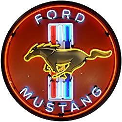 Neonetics 9MUSTB Ford Mustang 36 INCH Sign in Metal CAN, Red, White, Yellow/Blue Neon