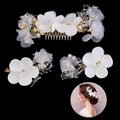 Flores de encaje blanco Peinetas para el cabello de cristal Joyas Tocado...