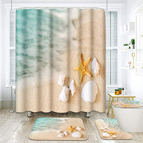 ArtSocket 4 Pcs Shower Curtain Set Starfish Seashore Summer Beach Sand Shell Fish Holiday Ocean Aquatic Beautiful with Non-Slip Rugs Toilet Lid Cover and Bath Mat Bathroom Decor Set 72' x 72'