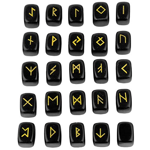KYEYGWO Obsidian Runen Steine Set mit Gravur Golden Elder Futhark Alphabet Symbol Edelstein, Runensteine Kristall für Meditation, Wahrsagung, Reiki Heilung und Amulett, 25 Stück