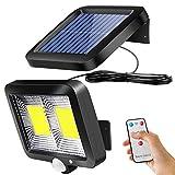 ZOYJITU - Lámparas solares para exteriores con sensor de movimiento, 108 LED, foco de 120°, luces solares superbrillantes para exteriores, IP65, 3 modos, lámpara solar de pared con cable de 16.5 pies