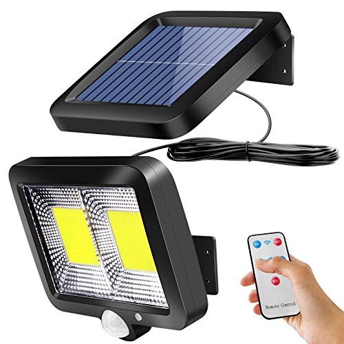 Fernbedienung Solarlampen für Außen mit Bewegungsmelder, ZOYJITU 108 LED Strahler 120° Superhelle Solarleuchten für Außen LED IP65 Wasserdichte 3 Modi Solar Wandleuchte mit 16.5ft wasserdicht Kabel