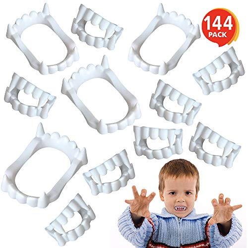 ArtCreativity White Vampire Fangs for Kids and Adults - Bulk Pack of 144 - Vampirina Party Supplies, Dracula Costume Accessories, Best for Halloween Party Favors, Treats, Décor, Goodie Bags