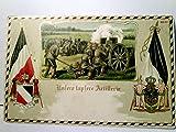 Unsere tapfere Artillerie. Alte, schöne Präge AK farbig mit Goldprägung, gelaufen als Feldpost ( ohne Stempel ) ca 1916. Soldaten im Gefecht, Militaria, Patriotika, 1. WK, Fahnen u....