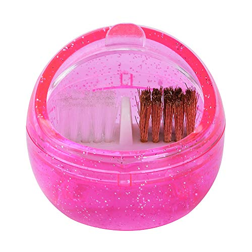 Nail Art Mèche Brosse de nettoyage Box Nail Art TOOL CLEANER Outils Nail Art brosse en plastique brosse en métal pour la maison ou Salon utilisation 1pc Rose