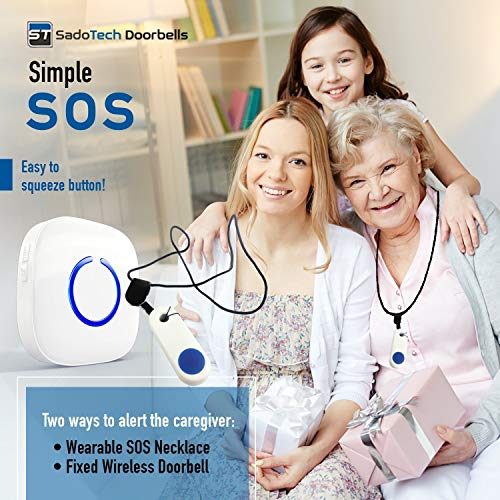 SadoTech Elderly Monitoring Pager - Waterproof, Wireless Caregiver Pager & Classroom Doorbell for Teachers - Essential Elderly Assistance Products - 4 Volumes, 52 Alert Chimes