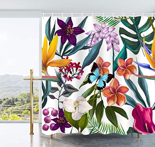 AO BLARE Flowers Shower Curtain Tropical Floral Yellow Purple Pink Flowers Tropical Plant Leaves Polyester Fabric Shower Curtain Set with Hooks 72X72 Inches