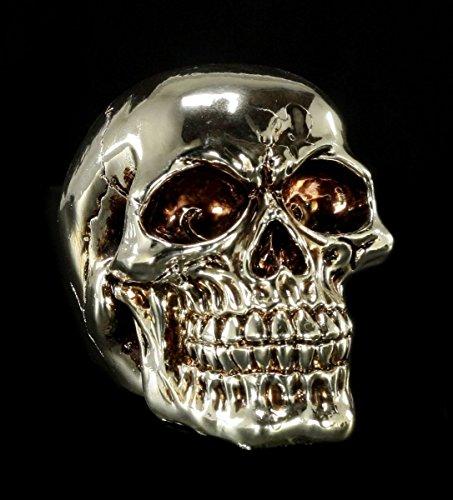Totenkopf Deko Figur - Silberfarben glänzend