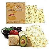 BOBKY Réutilisable Emballage de Cire d'abeille Ensemble de 3: Petit Moyen et Grand,Produit Naturel et Emballage Alimentaires Écologiques Lavables Zéro déchet (Fleur du Soleil)
