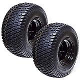 (2) 18x8.50x8 ATV Golf Go Cart Lawn Mower Tractor P322 Turf Tire Rim Assembly Black Steel Wheels 18' All Terrain Tires Compatible with EZGO Club Car Yamaha E-Z-GO Golf Cart