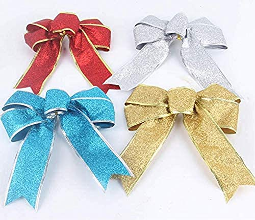 AOLIAY 4PCS 20cm Bowknot Christmas Tree Pendant Christmas Tree Topper Ornament Christmas Tree Family Tree Garden Supplies