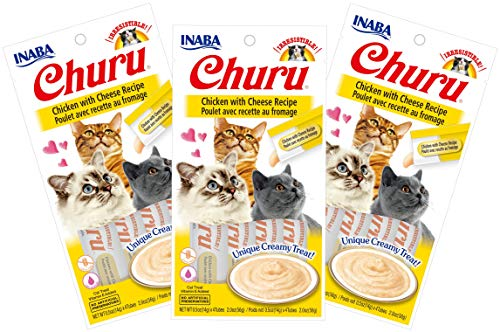 INABA Churu Chicken with Cheese Recipe Lickable Purée Natural Cat Treats 12 Tubes