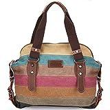 Moceal Multi-Color-Striped Canvas Damen Handtasche/Umhängetasche Canvas Tasche Shopper Hobo Bag