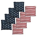 Nattork Premium Cornhole Bags All Weather Cornhole Bean Bags Set of 8 for Tossing Game - Regulation Bean Bags for Corn Hole Outdoor Game - Star & Stripes (Includes Tote Bag)
