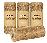 ilauke Jute Twine, Total 1300 Feet Natural Christmas Jute String, 2mm 3 Ply Art Craft Garden Twine Jute Rope for Floristry, DIY Gift Packing, Gardening Bundling and Wedding Decorating