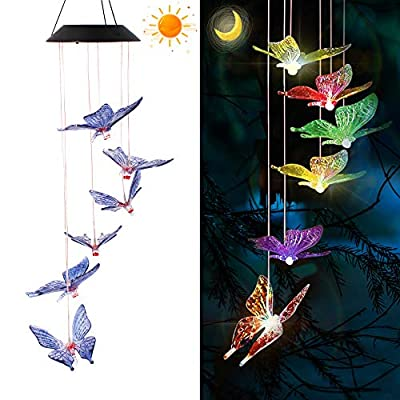 YUKOOL Solar Wind Chimes, Hanging String Lights, Butterflies Solar Mobiles Used As Decorative Mobiles in Garden, Yard, Patio