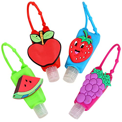 heekpek Botellas de Viaje Portátiles para Niños de Silicona para Desinfectante de Manos 4 Pack Contenedor de Viaje Accesorios Contenedor Desinfectante de Manos a Prueba de Fugas Rellenable (Fruta)