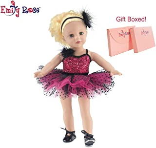 18 Inch Doll Clothes | Amazing Pink and Black Jazz Ballet Outfit, Includes Shimmery Beaded Leotard with Feather, Gorgeous Tutu, Matching Headband and Black Tap Shoes | Fits American Girl Dolls
