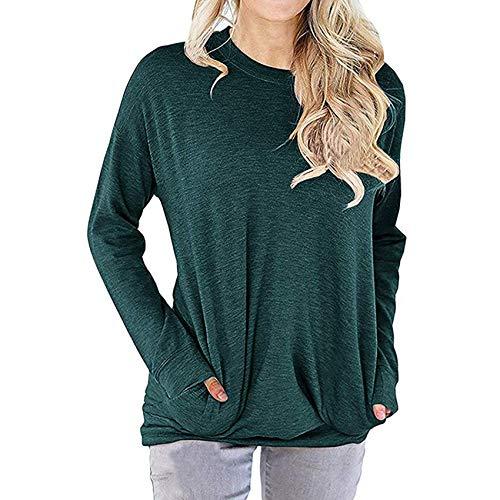 Herbst Winter Damen Pullover Einfarbig Lose Rundhals Tasche Langarm T-Shirt