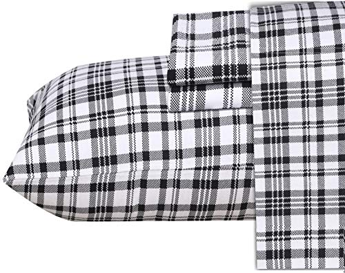 Ruvanti 100% Cotton 4 Piece Flannel Sheets Queen Black White Plaid Deep Pocket -Warm-Super Soft - Breathable Moisture Wicking Flannel Bed Sheet Set Queen Include Flat Sheet, Fitted Sheet 2 Pillowcases