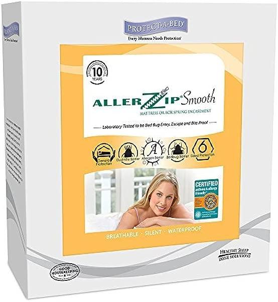 AllerZip Smooth Waterproof Bed Bug Proof Zippered Bedding Encasement Twin XL Fits 8 13 In H