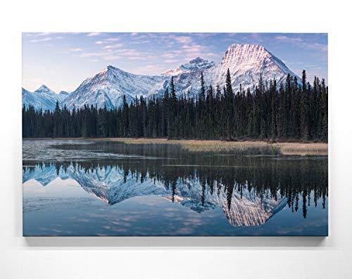 Atemberaubendes Berg Bild Rocky Mountains, Kanada - als 200x150cm große XXL Leinwand. Tolles Wandbild als Hintergrund und Deko für Wohnzimmer & Schlafzimmer. Fertig aufgespannt auf 4cm Holz-Keilrahmen