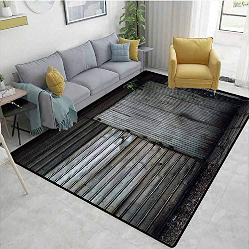 Read About TableCoversHome Industrial Geometric Area Rug Dorm, Zinc Door Old Pattern Printing Carpet...