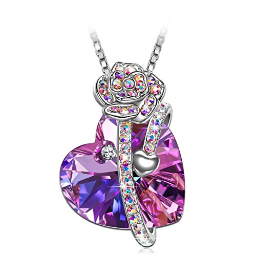 SIVERY Christmas Necklaces for Women 'Love of Rose' Pendant Necklace with Swarovski Crystals, Jewelry for Women, Gifts for Mom (Love of Rose Purple)