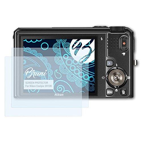 Bruni Schutzfolie kompatibel mit Nikon Coolpix S9100 Folie, glasklare Displayschutzfolie (2X)
