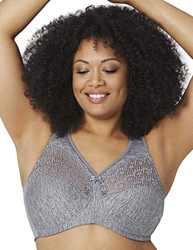 Glamorise womens Full Figure Plus Size MagicLift Moisture Control Wirefree Bra #1064, Gray Heather, 50B