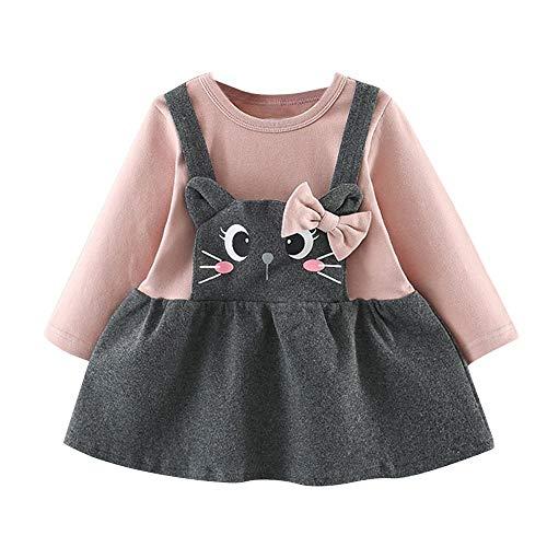 Kobay Babykleid Festlich Kleinkind Kinder Baby Mädchen Langarm Cartoon Cat Print Bow Party Prinzessin Kleid(3-6M,Rosa)