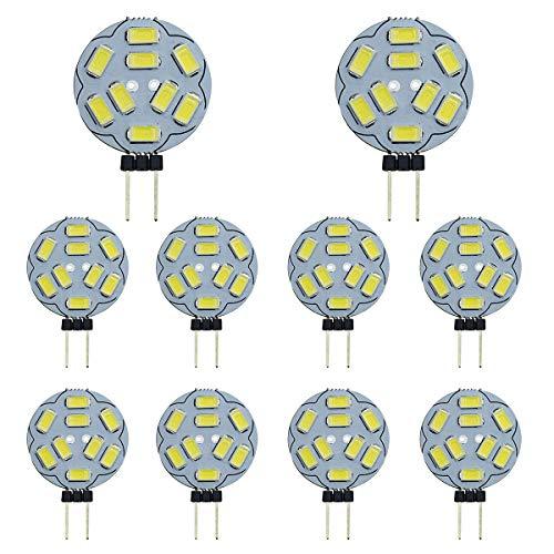 10er Pack G4 LED-Glühlampen 9 SMD 5730 12V AC/DC Bi-Pin-Sockel Deckeneinbau Puck-Glühlampe LED-Ersatzhalogenbirne 20W Entspricht Warm White 3000K