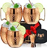 [Gift Set] 100% Pure Copper Moscow mule mugs, Set Of 4 Brass Handle...