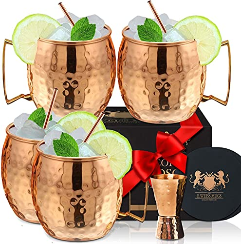 [Gift Set] 100% Pure Copper Moscow mule mugs, Set Of 4 Brass...