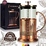 Le Flair French Press für 1 Liter Kaffee - Tee Presskanne aus Glas mit Kupfer ummantelt - Kaffeebereiter inkl. Kupfer Design Verpackung - Pressstempelkanne für Kaffeezubereitung - Kaffeeaufbereiter