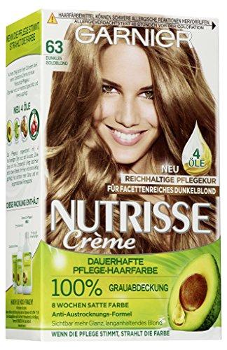 Garnier Nutrisse Creme Coloration Dunkles Goldblond 63, Färbung für Haare für permanente Haarfarbe (mit 3 nährenden Ölen), 1 Stück