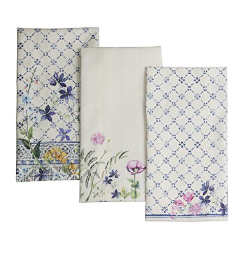 Maison d' Hermine Faïence 100% Cotton Set of 3 Kitchen Towels Soft Absorbent (20 Inch by 27.50 Inch)