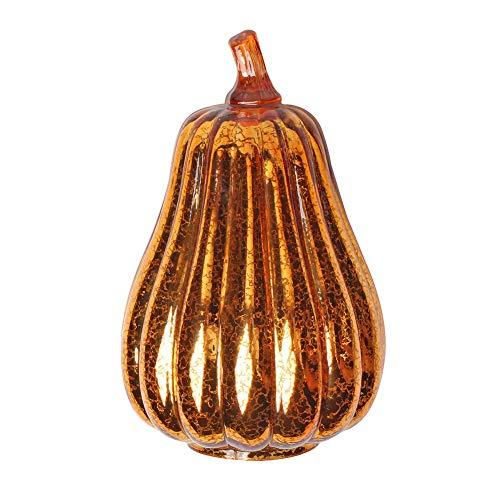 weiwei Led Lighted Glass Pumpkin Halloween Decoration,Outdoor Indoor Mercury Glass Pumpkin Light Garden Statues,Thanksgiving Fall Decor Pumpkin Lantern