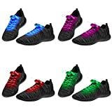 2 Sets of LED Shoelaces Light Up Shoe Laces Flashing LED DIsco Light Laces Fibre Glow in the Dark Laces Night Safety Festival Accessories Hip Hop Shoes Boots Neon Laces Night Running Accessories