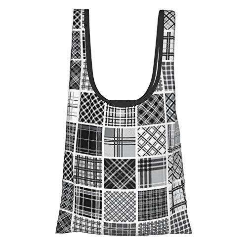 Grey Decor Mixed Checkered Squared Scotch Plaid Striped Scarf Patterns In Patchwork Style Image Black White Grey Reusable Fold Eco-Friendly Shopping Bags