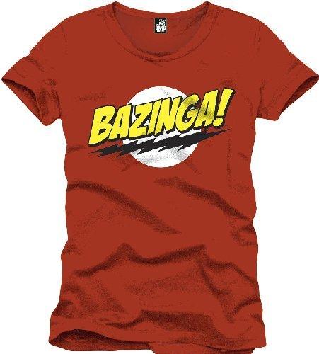 The Big Bang Theory - T shirt Bazinga - Maglia in cotone ispirata alla sit com - Girocollo rossa, Rosso (Red), Medium