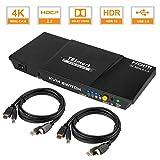TESmart 2fach HDMI KVM Switch – 4K Ultra HD mit 3840 x 2160 bei 60 Hz 4:4:4; 2 Stuck 1,5m KVM-Kabel unterstützt USB 2.0 Gerätebedienung bis max. 2 Computer/Server/DVR (Schwarz)