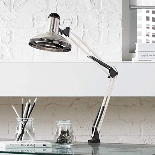 Modern Architect Style Desk Lamp Brushed Nickel Clamp On Adjustable Head Tension Spring Arm for Office Artwork Craft - 360 Lighting