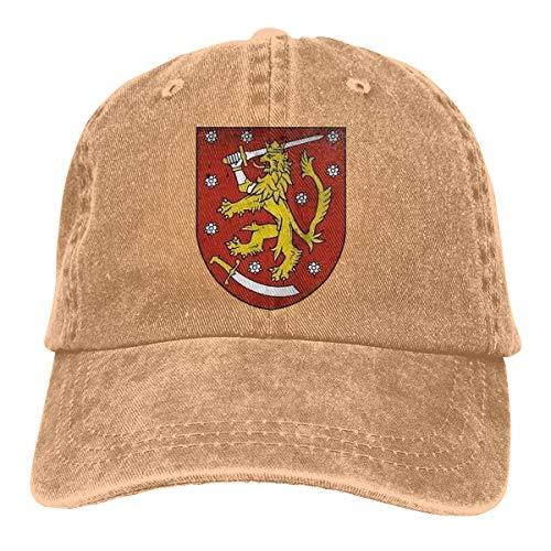 Osmykqe Mütze, Finnland, Denim, naturfarben, einfarbig, weich, verstellbare Größe