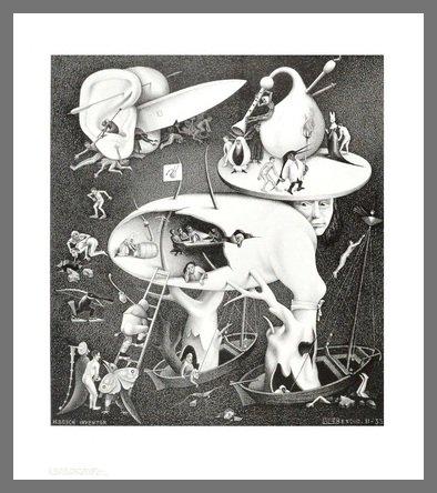 Germanposters MC Escher Poster Kunstdruck Bild Hölle im Alu Rahmen in Champagne 71x61cm