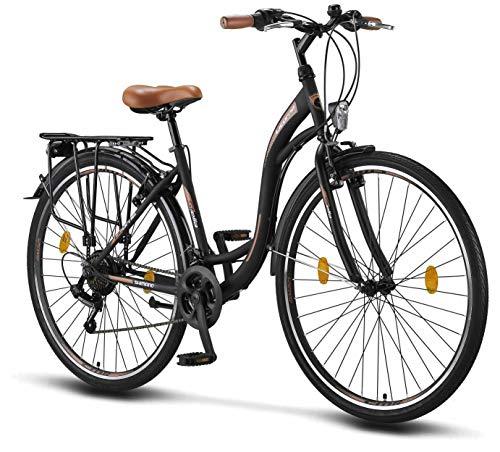 Licorne Bike Stella (Schwarz) 28 Zoll Damenfahrrad,CTB ab 160 cm, Fahrrad-Licht, Shimano 21 Gang-Schaltung, Damen-Citybike, Retro, Holland, Amsterdam