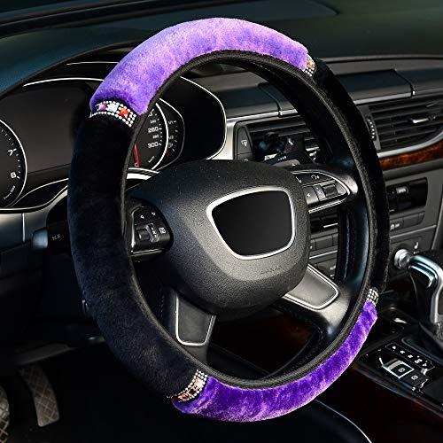 KAFEEK Elastic Fuzzy Steering Wheel Cover for Winter Warm, Universal 15 inch Fluffy Microfiber Plush Steering Wheel Cover,Black Purple