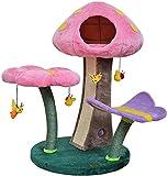 Gato Apartamento gato árbol de la torre a jugar un papel importante cabaña de madera reclinable for...